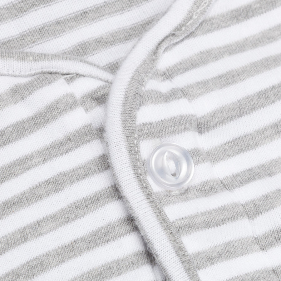 Engineered Garments Henley Shirt Grey White Stripe Jersey