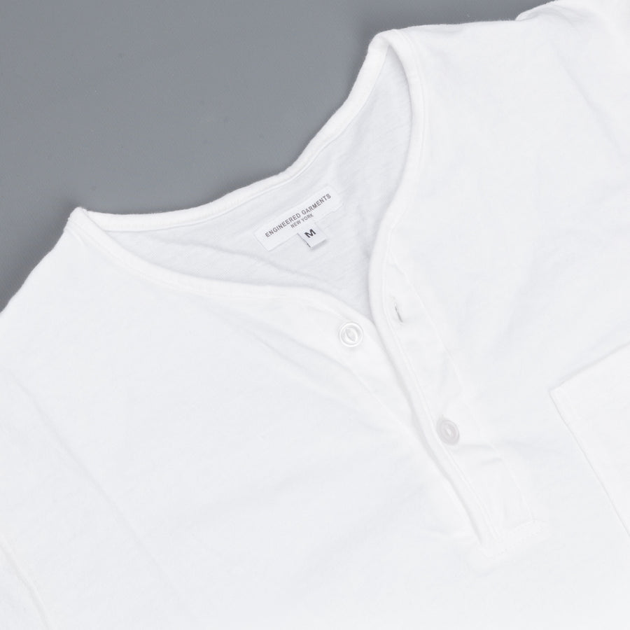 Engineered Garments Henley Shirt White Solid Jersey