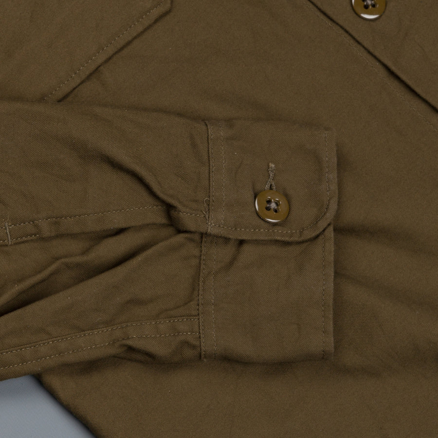 Engineered Garments Field Shirt Olive Reversed Satin
