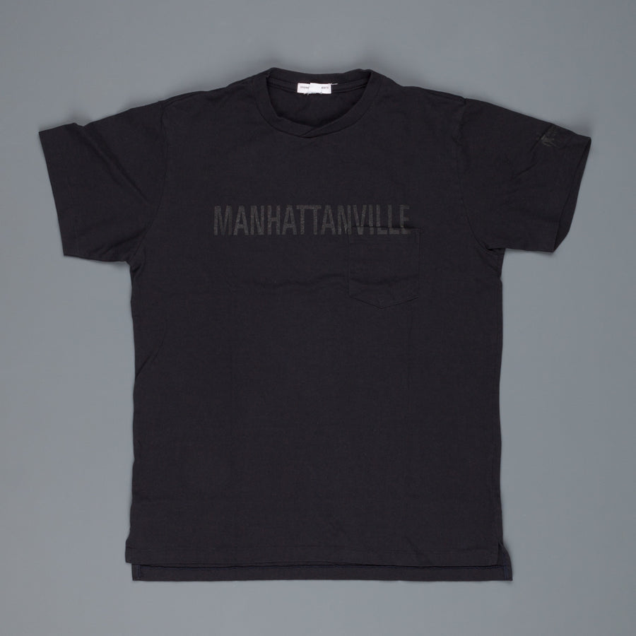 Engineered Garments Printed Cross Neck Tee Navy Manhattanville