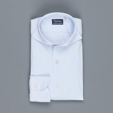 Finamore Tokyo shirt collo Simone lightblue striped seersucker shirt
