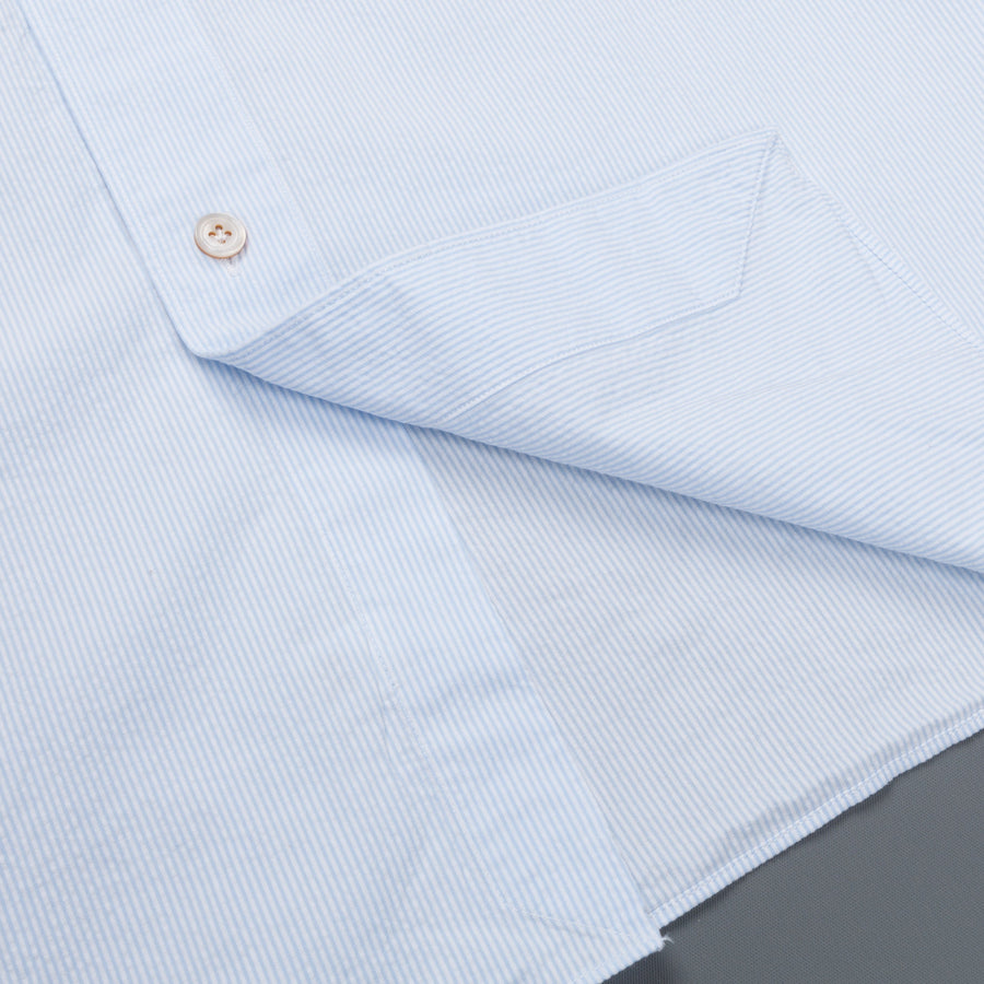 Finamore Gaeta shirt collo Simone light blue striped seersucker