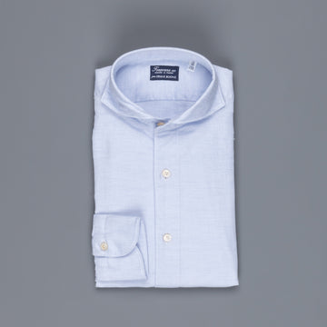 Finamore Tokyo Shirt Sergio Collar Loose Weave Blue