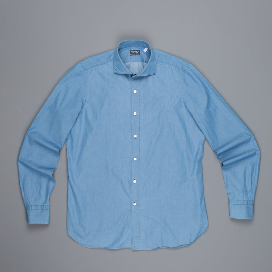 Finamore Gaeta shirt Simone collar light denim bleached