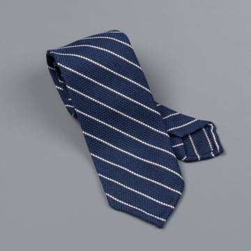 Finamore wool silk tie untipped navy white medium club stripe