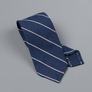 Finamore wool silk tie untipped navy white wide club stripe