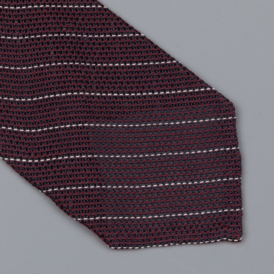 Finamore silk tie untipped burgundy white club stripe