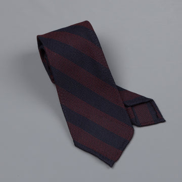 Finamore silk tie untipped navy burgundy club stripe