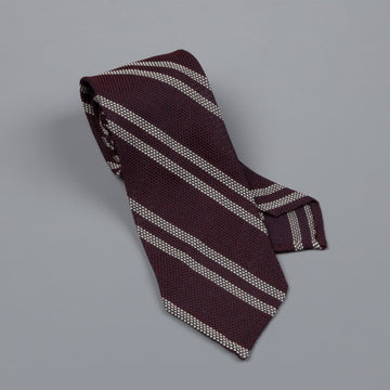 Finamore silk tie untipped Burgundy regimental