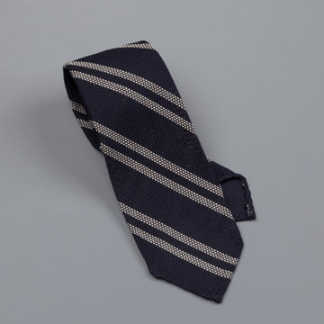 Finamore silk tie untipped dark navy regimental