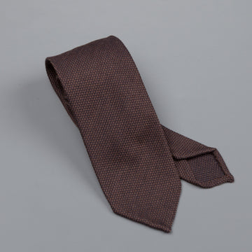 Finamore wool silk tie untipped brown