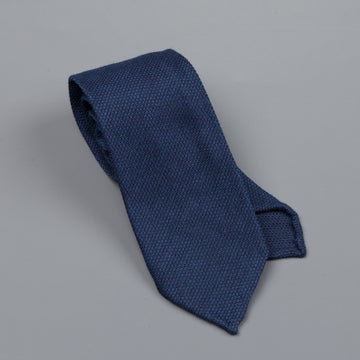 Finamore wool silk tie untipped navy blue