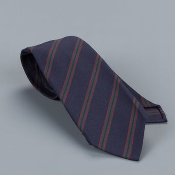 Finamore wool cotton tie regimental stripe navy