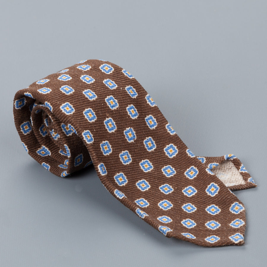 Finamore Wool Silk  tie marrone