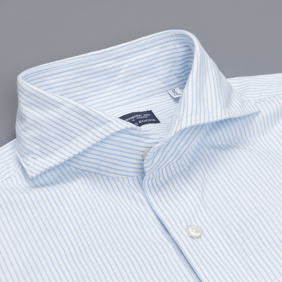 Finamore Gaeta Shirt Sergio Collar Blue Pencil Stripe