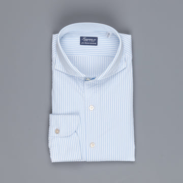 Finamore Gaeta shirt Sergio collar seersucker blue white stripe