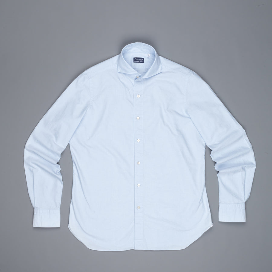 Finamore Gaeta shirt Sergio collar brushed oxford blue