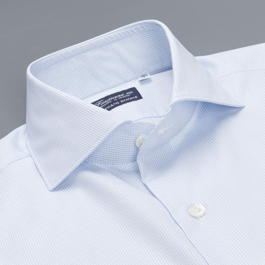 Finamore Milano shirt light blue graph check Collo Eduardo