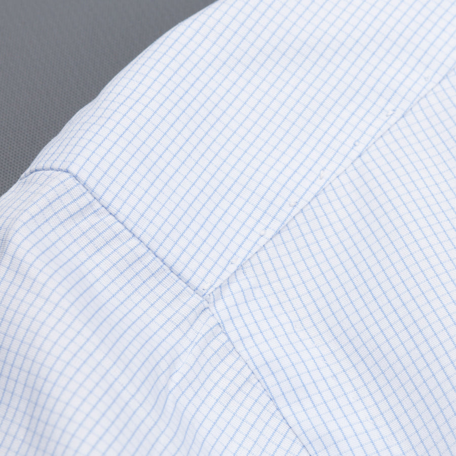 Finamore Napoli shirt light blue graph check Collo Eduardo