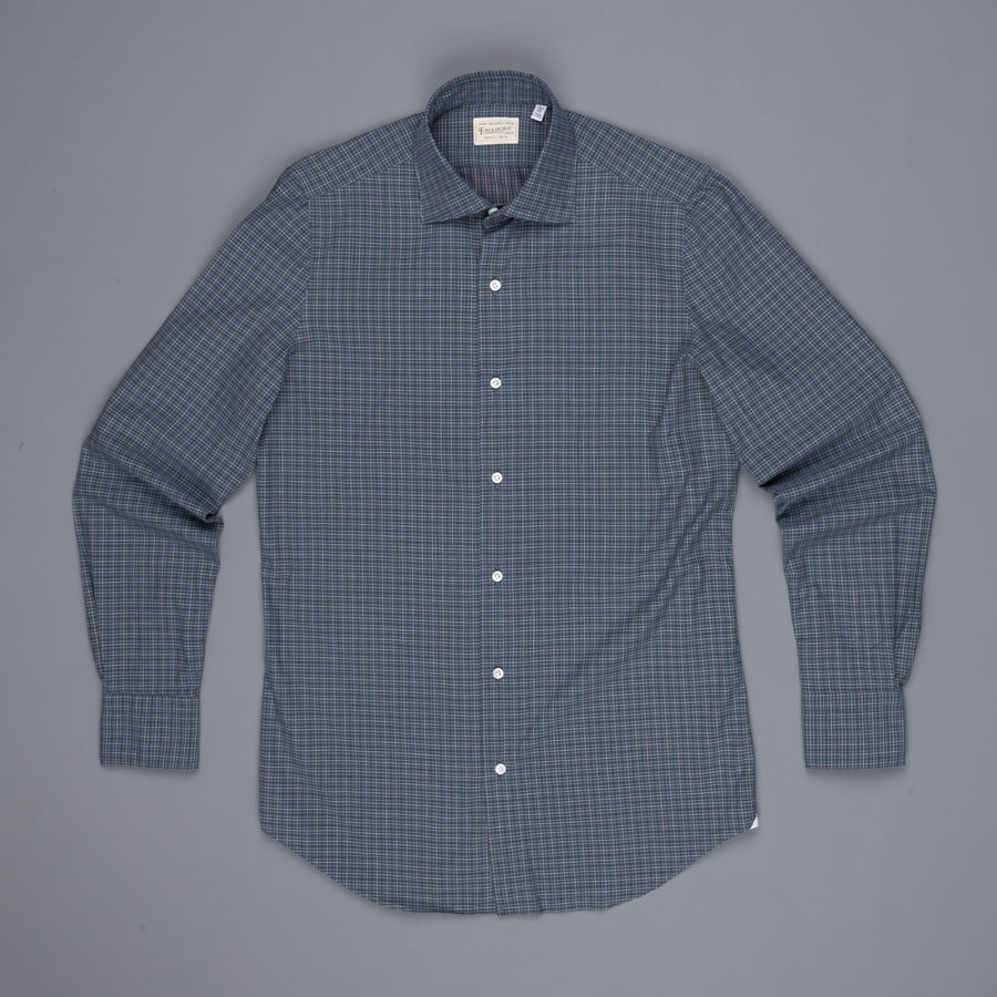 Finamore Heritage shirt soft collar Luigi poplin check blue