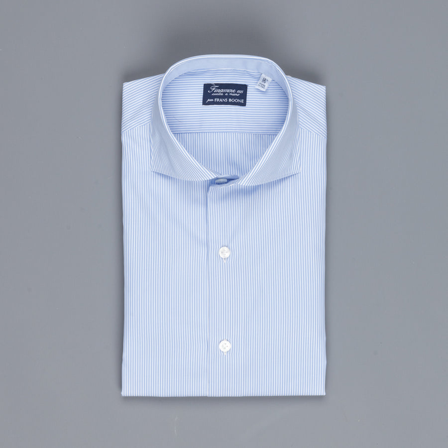 Finamore Milano shirt collo Eduardo light blue stripe Alumo Voyage