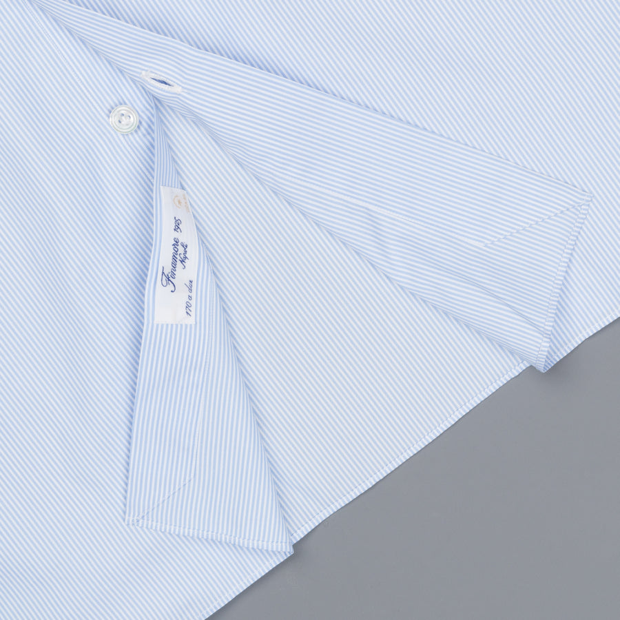 Finamore Napoli shirt Collar Eduardo GIZA 45 light blue stripe poplin