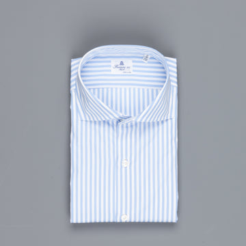 Finamore Napoli Shirt Eduardo Collar GIZA 45 Light Blue Bengal stripe poplin