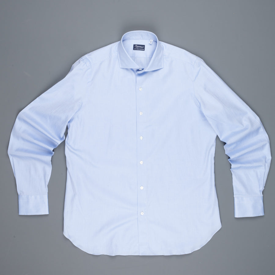 Finamore Napoli shirt Eduardo collar fine oxford Blue