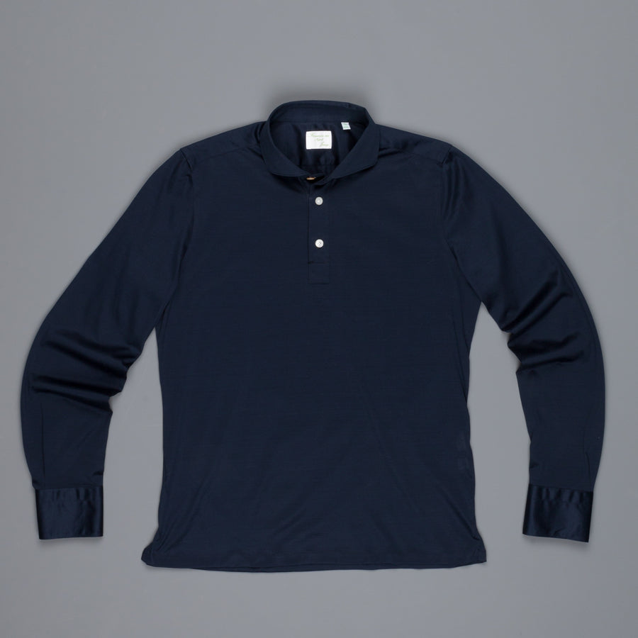 Finamore Orlando Longsleeve Polo Achille Collar jersey navy