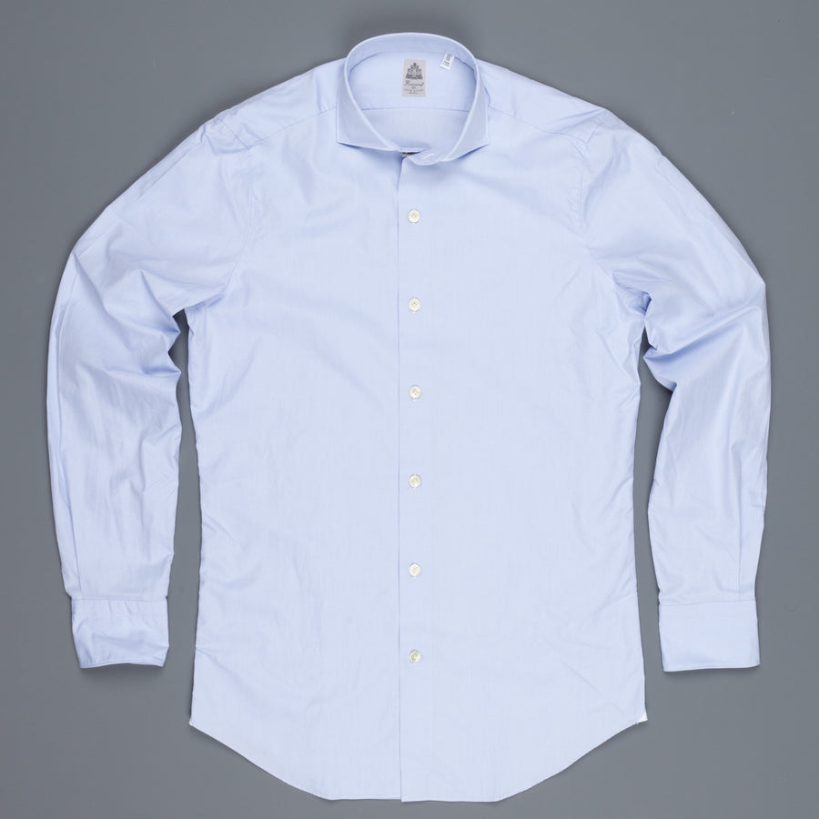 Finamore Seattle shirt light blue Alumo Poplin