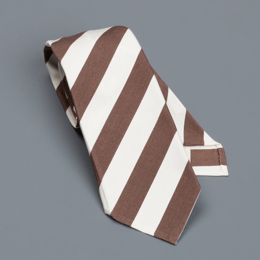 Finamore Cravatta sette pieghe sfoderata brown stripes