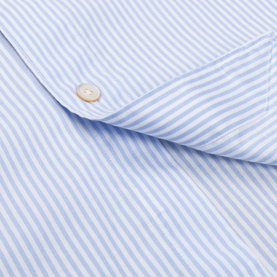 Finamore Tokyo fit oxford shirt lucio collo blue white stripe