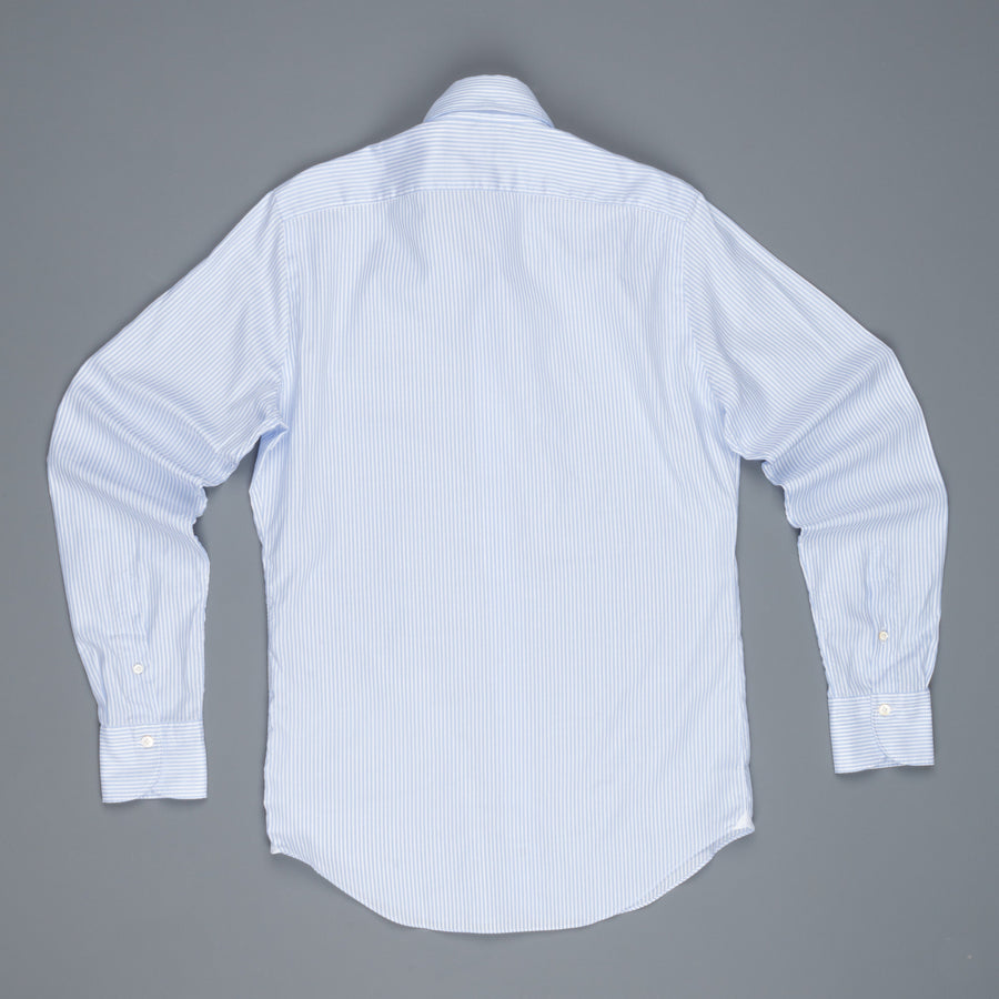 Finamore Gaeta shirt Lucio button down collar blue stripe