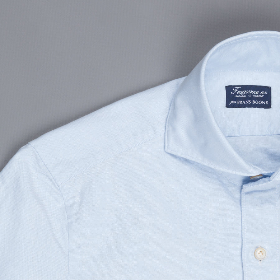 Finamore washed Tokyo shirt Sergio collar brushed oxford blue