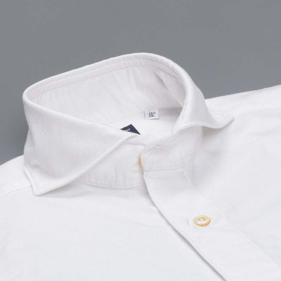 Finamore washed Tokyo Sergio collar shirt brushed oxford white