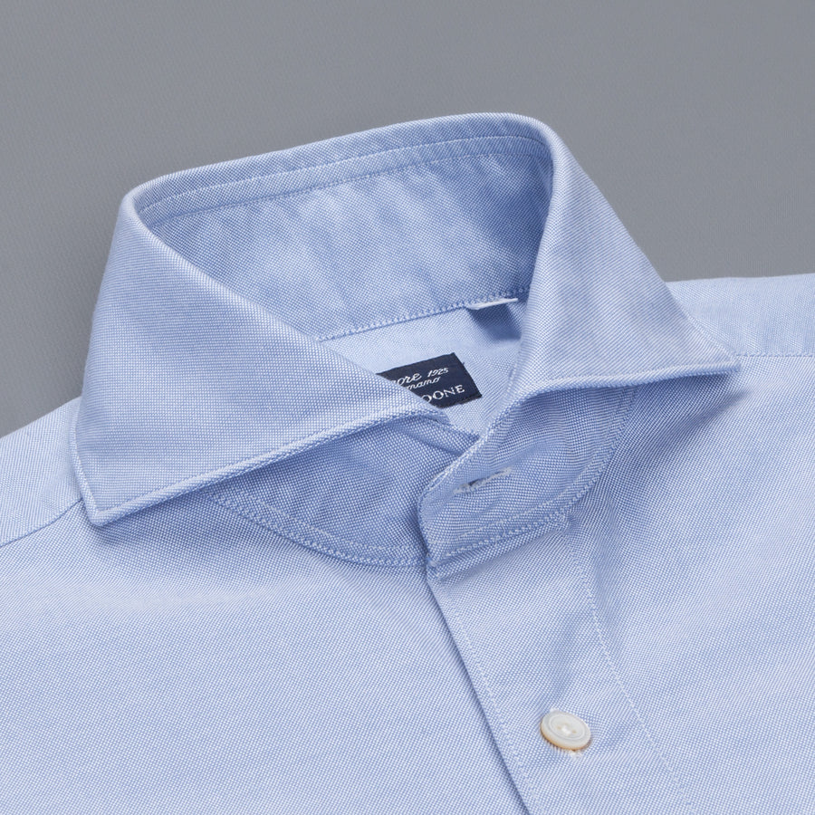 Finamore Gaeta Shirt Sergio Collar Washed Dark Blue Oxford