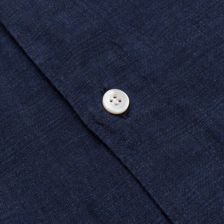 Finamore Gaeta shirt dark blue linen collo Simone