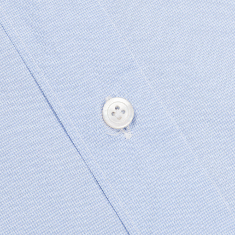 Finamore Gaeta Shirt Sergio Collar Fine light Blue Puppytooth