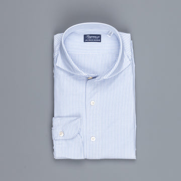 Finamore Gaeta shirt Sergio collar brushed oxford light blue stripe
