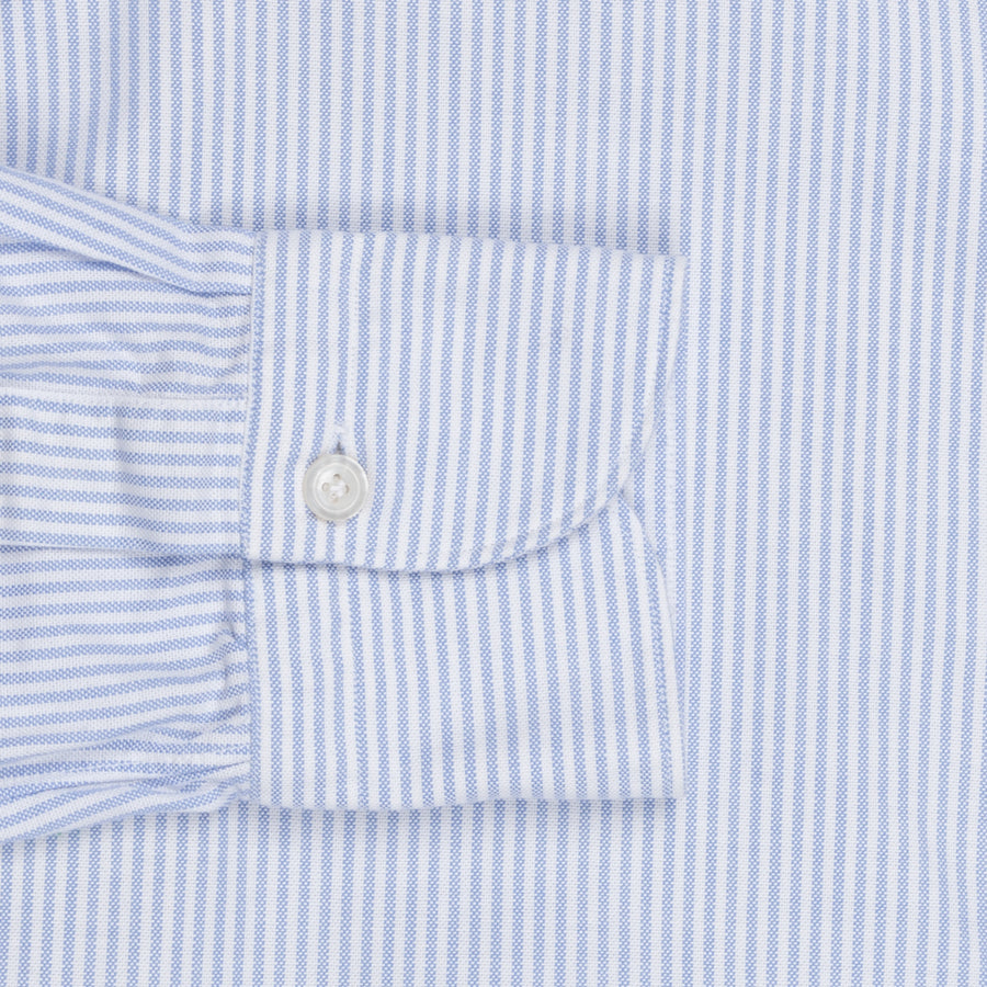 Finamore washed Tokyo shirt Sergio collar brushed oxford Light Blue stripe
