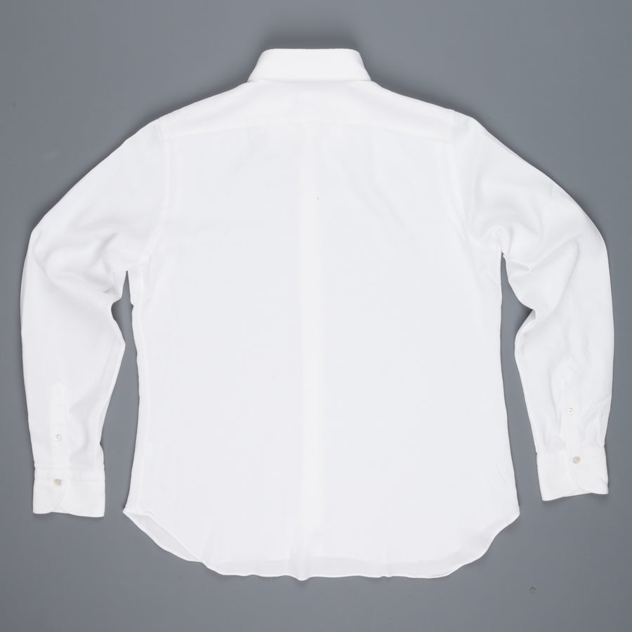 Finamore Gaeta Fit Stretch Piquet White shirt collo Lucio