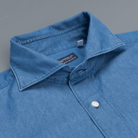 Finamore Gaeta shirt simone collar denim medium blue