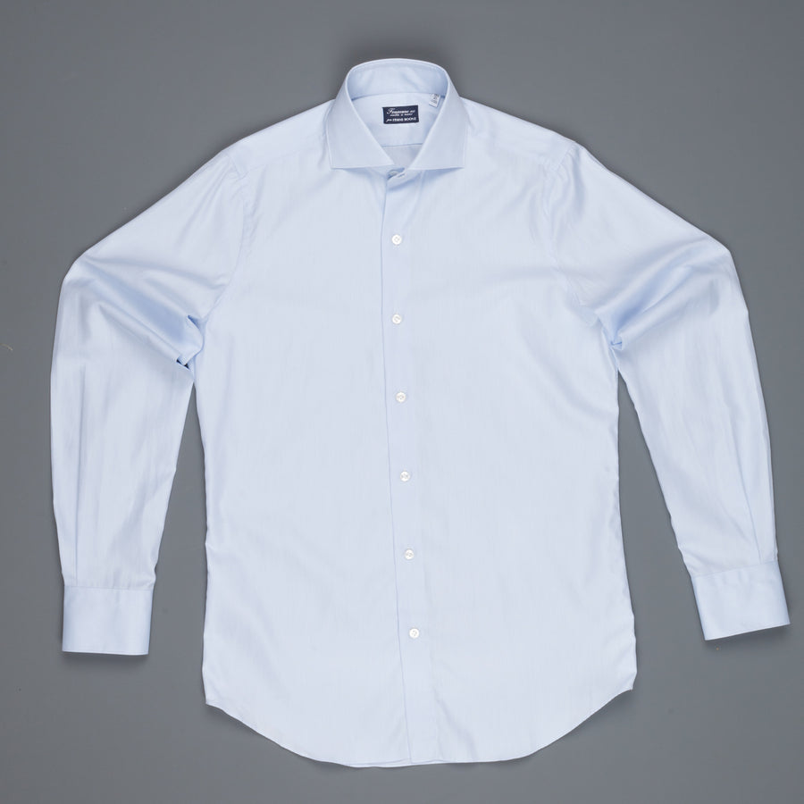 Finamore Milano fine light blue twill shirt Collo Eduardo
