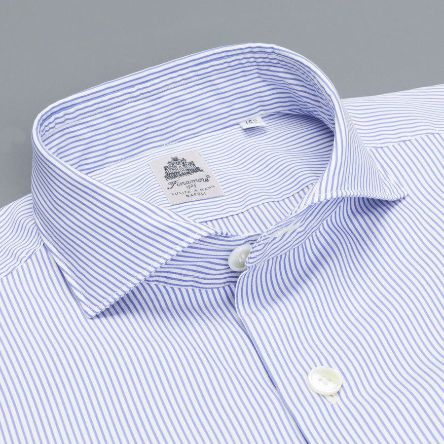 Finamore Seattle shirt blue bengal stripe