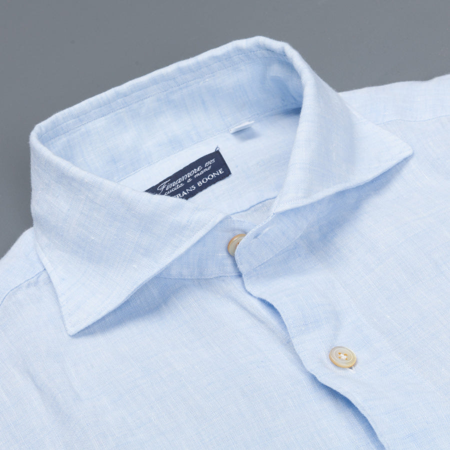 Finamore Gaeta shirt light blue linen collo Simone