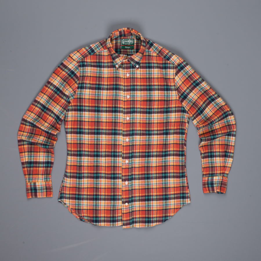 Gitman Vintage button down shirt orange green flannel plaid