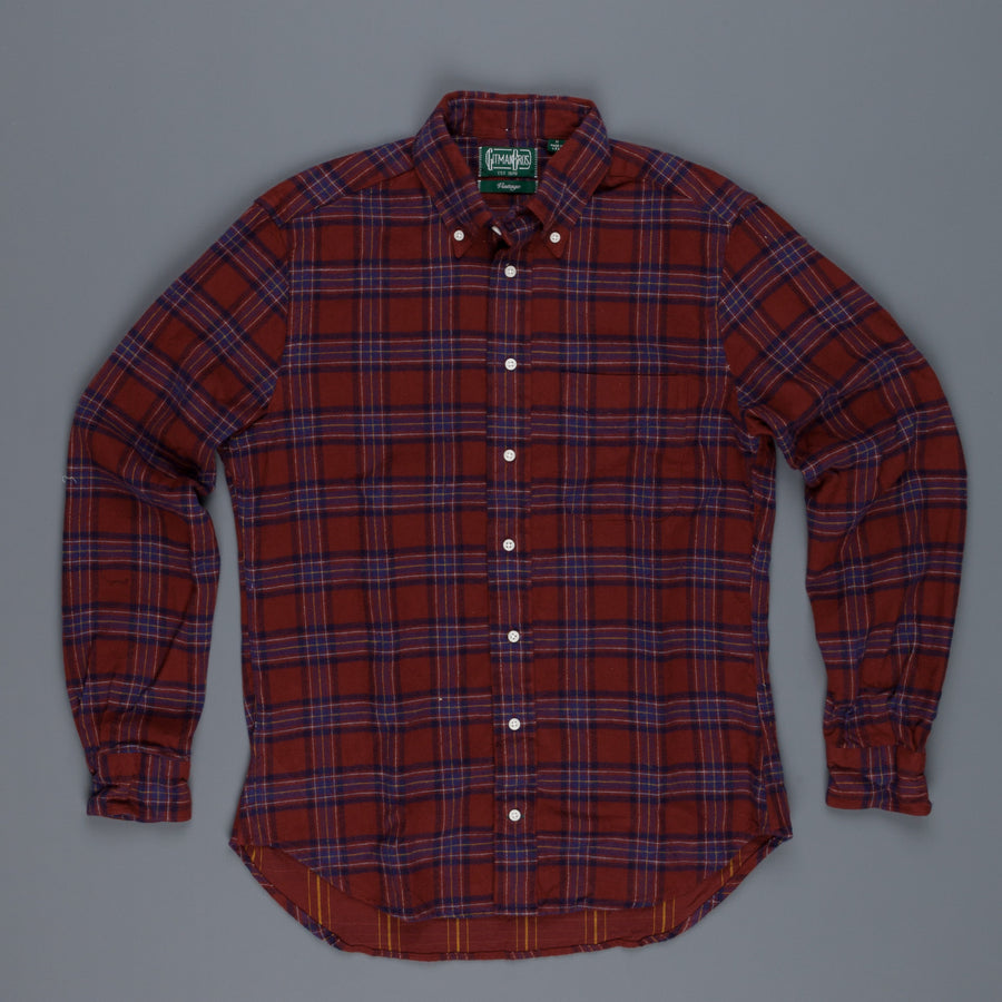 Gitman Vintage bd shirt burgundy blue plaid