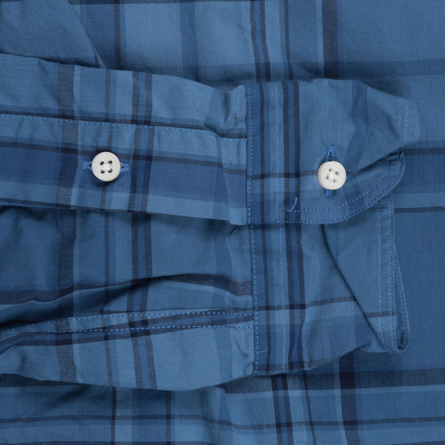 Gitman Vintage bd plaid blue overdyed shirt
