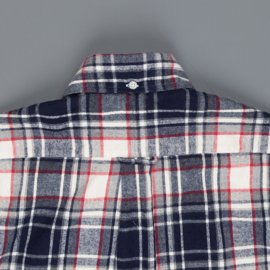 Gitman Vintage Button Down Shirt Burgundy White Navy Flannel plaid