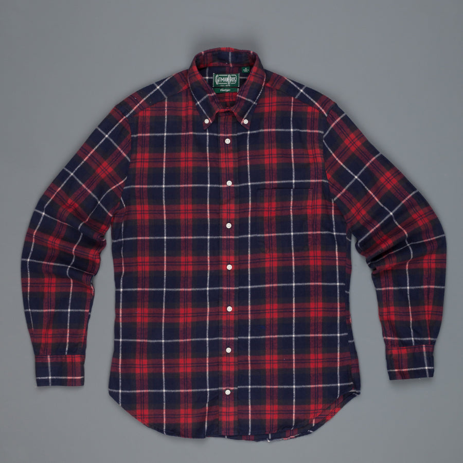 Gitman Vintage Button Down Shirt Burgundy Navy Flannel plaid